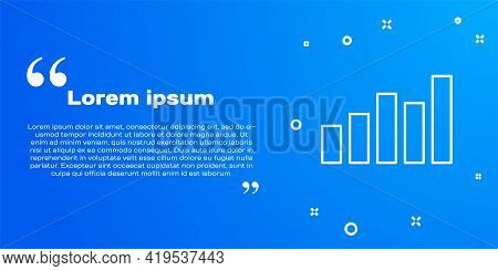White Line Graph, Schedule, Chart, Diagram, Infographic, Pie Graph Icon Isolated On Blue Background.