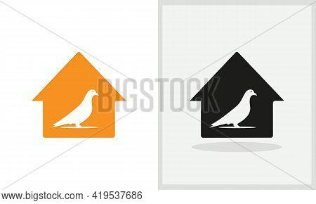 Dove House Logo Design. Home Logo With Dove Concept Vector. Dove And Home Logo Design