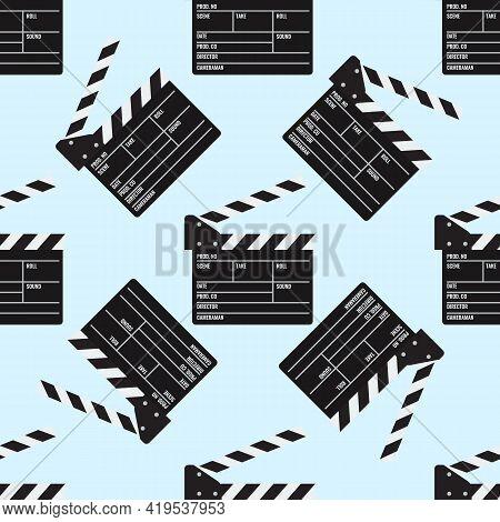 Cinema Or Movie Clapper Seamless Pattern For Your Design. Film Clapper Board. Flat Color Vector Illu