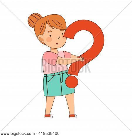Confused Redhead Girl Pondering Question Thinking And Wondering Vector Illustration