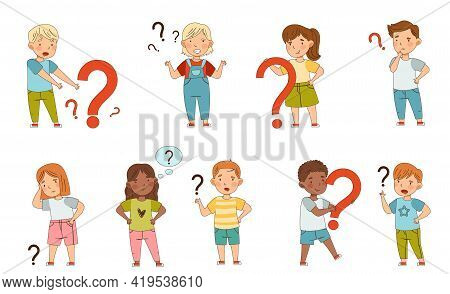 Puzzled Little Kids With Question Scratching Their Heads Wondering Vector Set