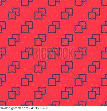 Blue Line Textile Fabric Roll Icon Isolated Seamless Pattern On Red Background. Roll, Mat, Rug, Clot