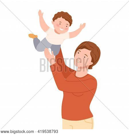 Smiling Mother Playing With Her Son Pretending Him Flying Vector Illustration