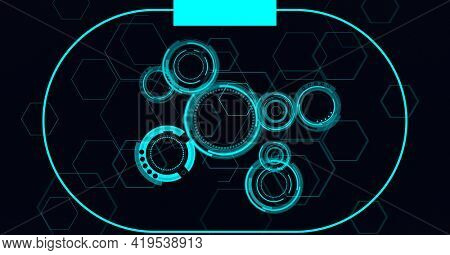 Animation of scopes scanning and hexagons on black background. global technology and digital interface concept digitally generated image.