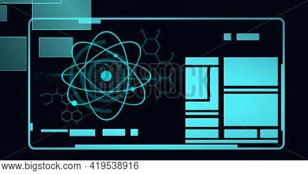 Animation of scientific data processing on screen with blue shapes and hexagons on black. global technology and digital interface concept digitally generated image.