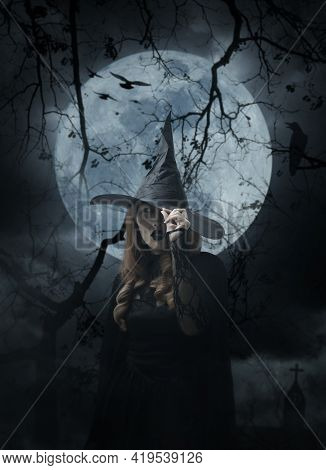 Scary Halloween Witch Standing Over Cross, Church, Crow, Birds, Dead Tree, Full Moon And Cloudy Spoo