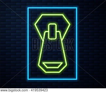 Glowing Neon Line Zipper Icon Isolated On Brick Wall Background. Vector