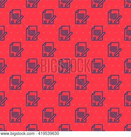 Blue Line Exam Sheet And Pencil With Eraser Icon Isolated Seamless Pattern On Red Background. Test P
