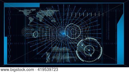 Animation of data processing, scopes scanning and world map on screen background. global technology and digital interface concept digitally generated image.