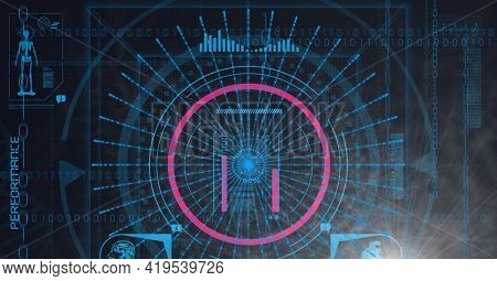 Animation of scopes scanning, human model and binary coding on blue background. global science, medicine, technology and digital interface concept digitally generated image.