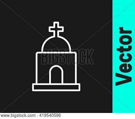 White Line Old Crypt Icon Isolated On Black Background. Cemetery Symbol. Ossuary Or Crypt For Burial