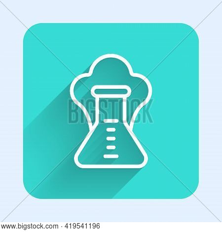 White Line Chemical Experiment, Explosion In The Flask Icon Isolated With Long Shadow. Chemical Expl