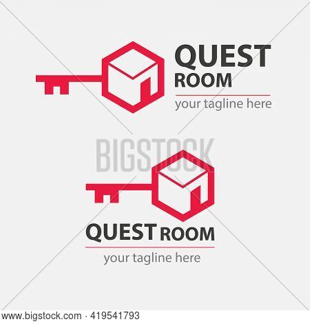 Quest Or Escape Room Abstract Logo.  Cooperative Game Sign Of Closed Room.