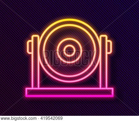 Glowing Neon Line Gong Musical Percussion Instrument Circular Metal Disc Icon Isolated On Black Back