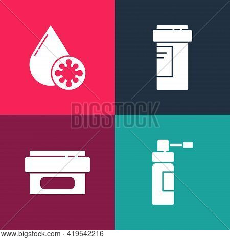 Set Pop Art Bottle With Nozzle Spray, Ointment Cream Tube Medicine, Medicine Bottle And Blood Test A