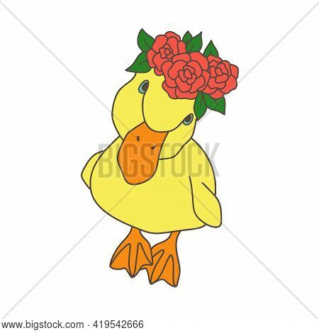 Little Duckling With A Floral Wreath. A Simple Color Illustration. Duck With Roses On Head.