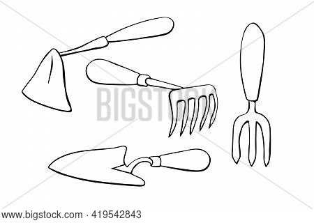 Vector Set Of Garden Tools: Hoes, Scoop. Hand Drawn Outline Doodle Style Illustration, Isolated. Ele