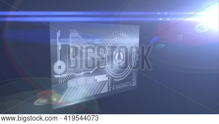 Animation of data processing on screen with blue light trails on blue background. global technology and digital interface concept digitally generated image.