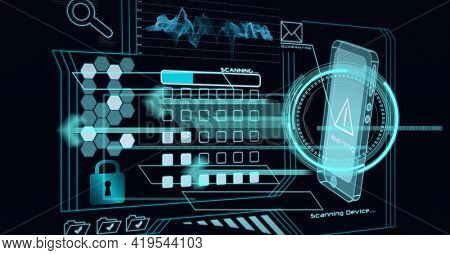 Animation of data processing and smartphone screen on black background. global technology and digital interface concept digitally generated image.