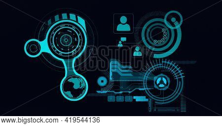Composition of scopes scanning and digital people icons on black background. global networks, technology and digital interface concept digitally generated image.