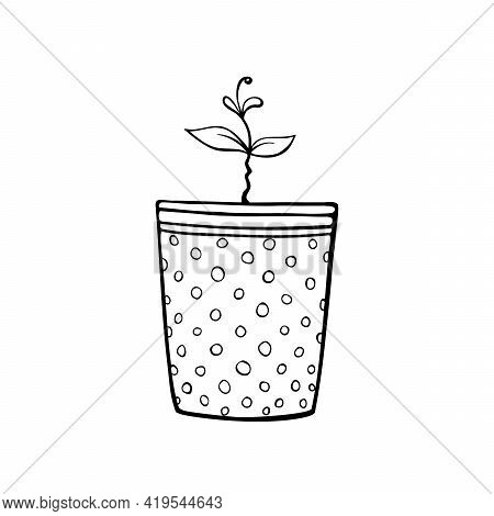 Pot With A Plant Sprout, Seedlings. Hand Drawn Simple Black Outline Vector Illustration In Doodle St