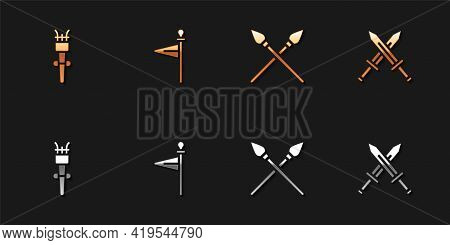 Set Torch Flame, Medieval Flag, Crossed Medieval Spears And Sword Icon. Vector