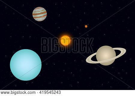 View Of Uranus, Jupiter And Saturn From Outer Space. Vector Illustration.
