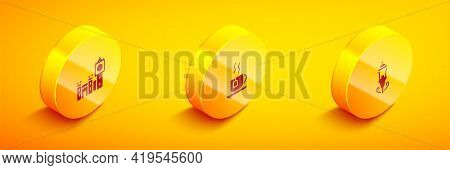 Set Isometric Big Ben Tower, Cup Of Tea With Tea Bag And Vintage Street Light Icon. Vector