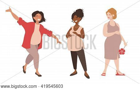 Bright Group Of Multinational Pregnant Girl Friend