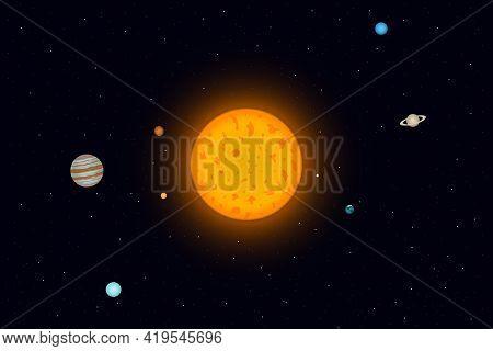 Planetary System Of Sun. Solar System Planets. Vector Illustration.