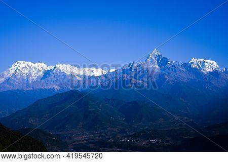 Mountain Panorama View Of Himalaya Range, Mountains Range