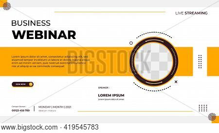 Business Webinar Banner Template For Website With Circle Frame And Minimalist Concept Of Geometric S