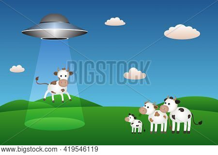 Ufo Abducts Cow. Cartton Style. Vector Illustration.
