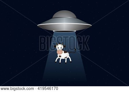 Ufo Abducts Cow At Night. Vector Illustration.