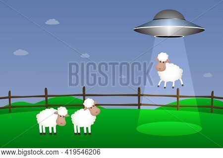 Ufo Abducts Sheep. Cartoon Style. Vector Illustration.