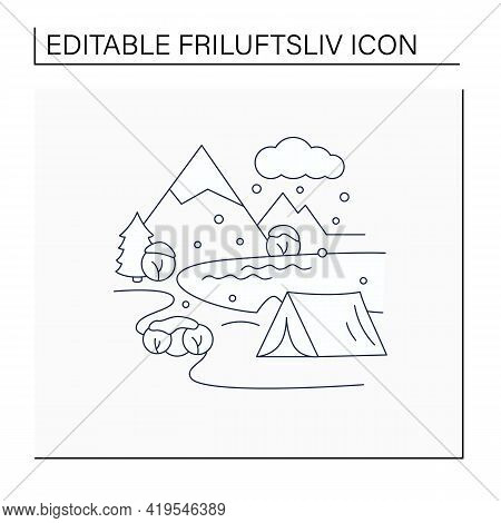 Camping Line Icon.tent On River Landscape Background. Snowy Weather. Adventure Tourism. Green, Eco T