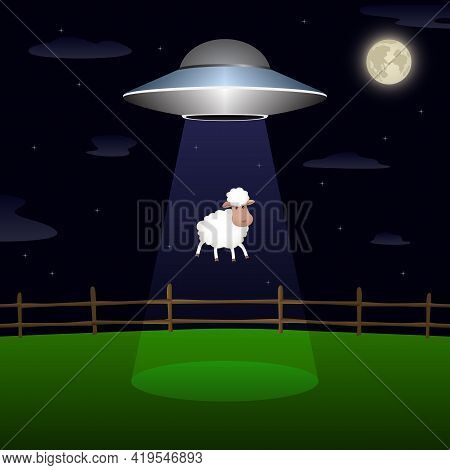 Ufo Abducts Sheep From Corral At Night. Vector Illustration.
