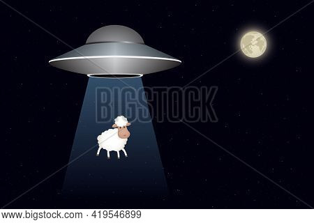 Ufo Abducts Sheep At Night. Vector Illustration.