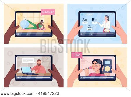 Online Tutorials On Tablet Screen Flat Color Vector Illustration Set. Internet Education Class. E Le