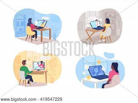 Remote Class 2d Vector Web Banner, Poster Set. Man And Woman Watching Online Tutorial Flat Character