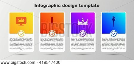 Set Location King Crown, Medieval Sword, King And Torch Flame. Business Infographic Template. Vector