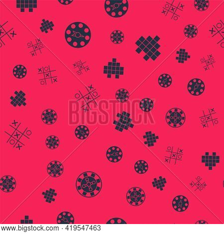 Set Casino Roulette Wheel, Twister Game, Tic Tac Toe And Pixel Hearts For On Seamless Pattern. Vecto