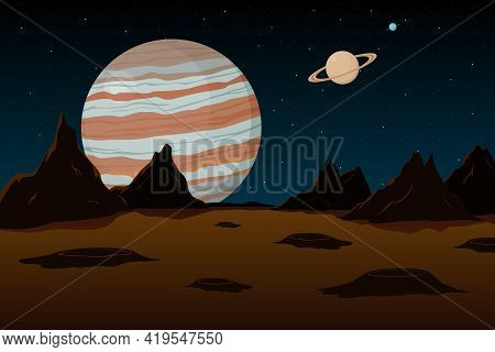 View Of Jupiter And Saturn From Mars. Vector Illustration.