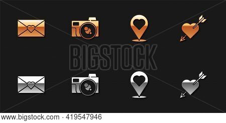Set Envelope With Valentine Heart, Photo Camera, Location And Amour And Arrow Icon. Vector