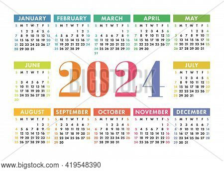 Calendar 2024. English Colorful Vector Horizontal Wall Or Pocket Calender Template. Design. New Year