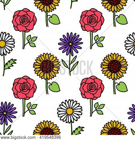 Flowers. Floral Seamless Pattern. Doodle Vector Set. Hand Drawn Line Sketch. Types Of Flowers. Chamo
