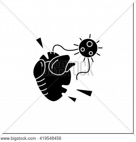 Heart Attack Glyph Icon. Covid Molecule Causing Heart Failure. Concept Of Corona Virus Cardio Health