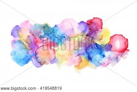 Watercolor cloud blot painting. Canvas texture horizontal abstract background.