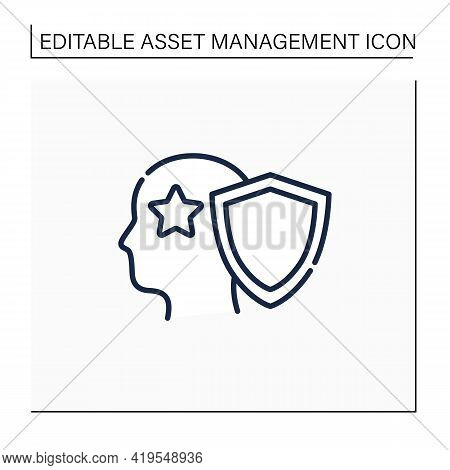 Intellectual Property Line Icon. Copyright. Intangible Creations. Law Protects. Asset Management Con