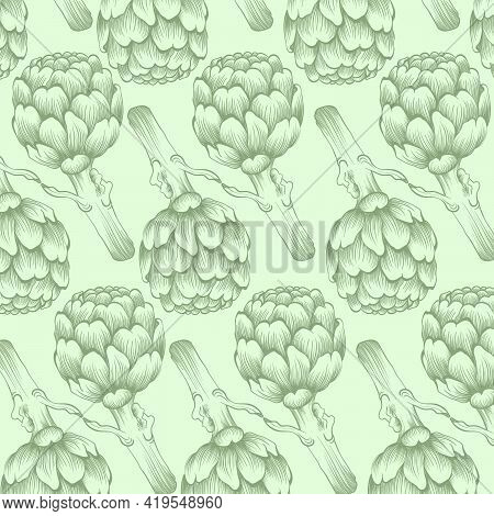 Seamless Nature Artichoke Background. Fresh Organic Food. Vegetables Pattern. Hand-drawn Sketch Of A